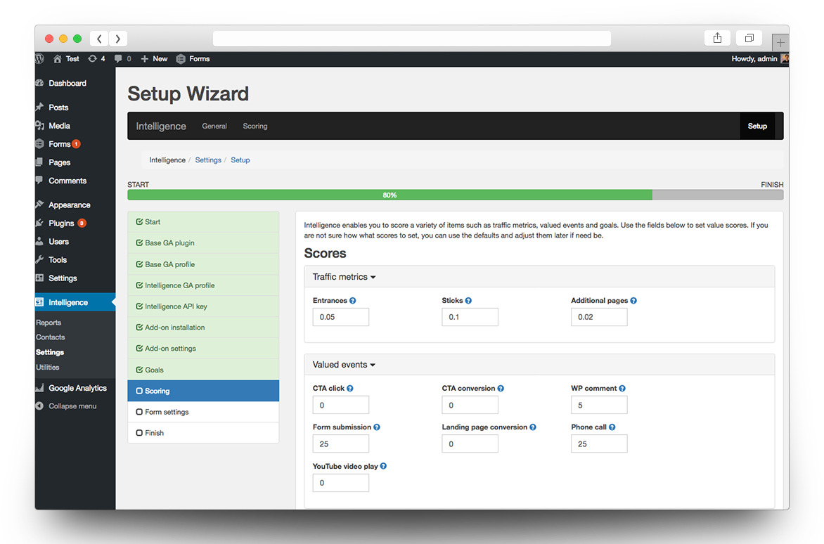 intelligencewp scoring wizard screen