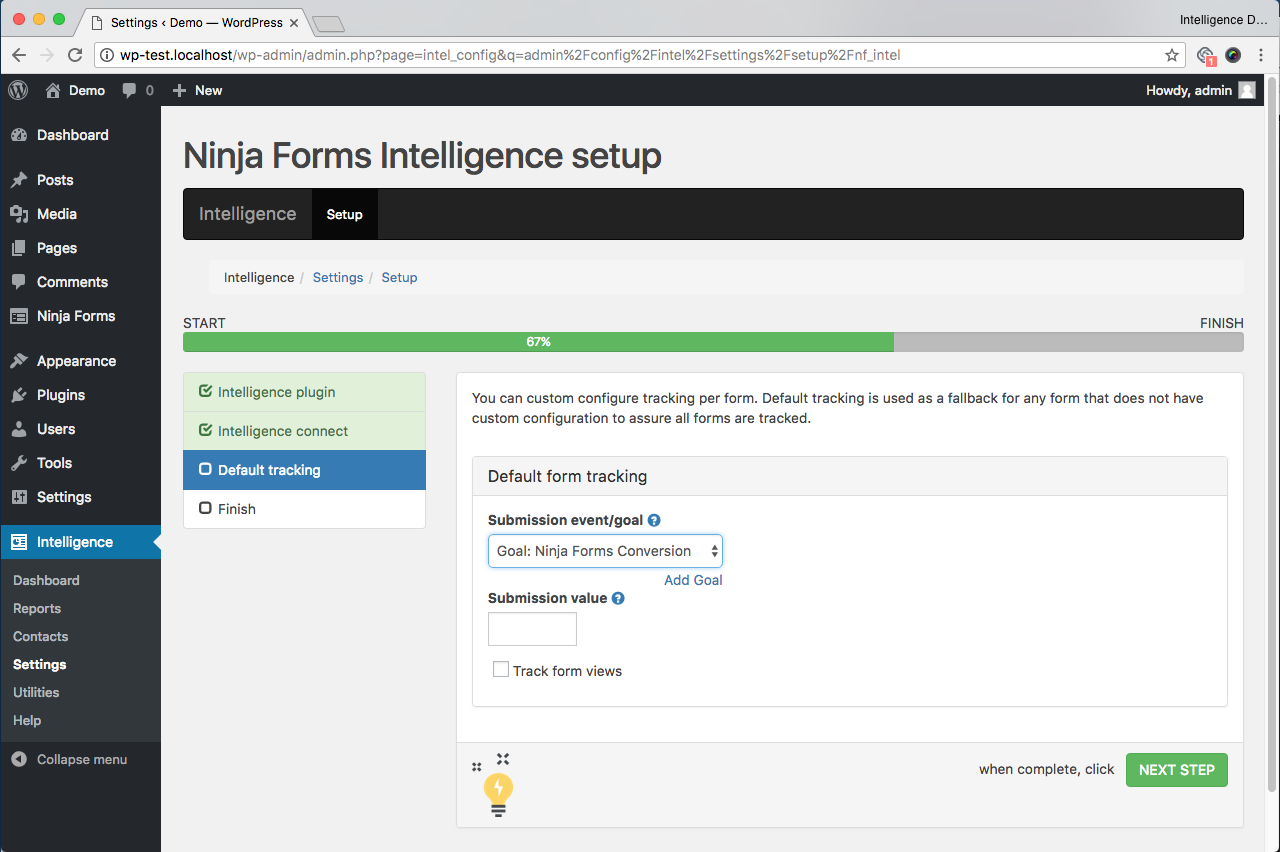 screenshot of Ninja Form Intelligence setup wizard default tracking page