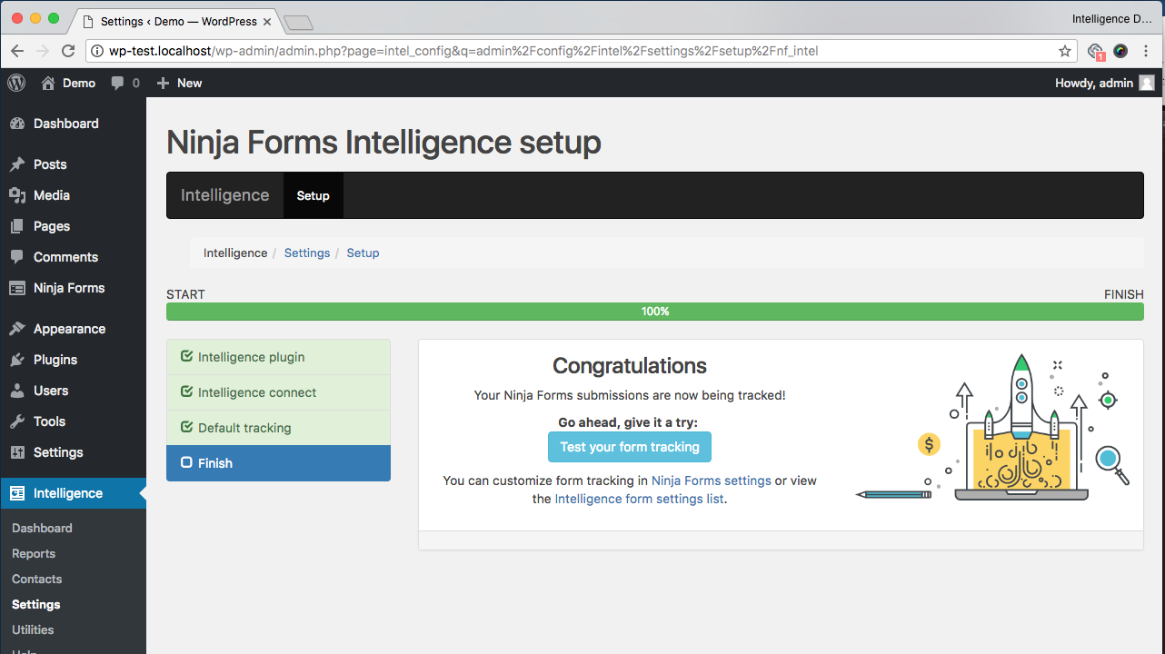 Ninja Forms Intelligence setup wizard congratulations page