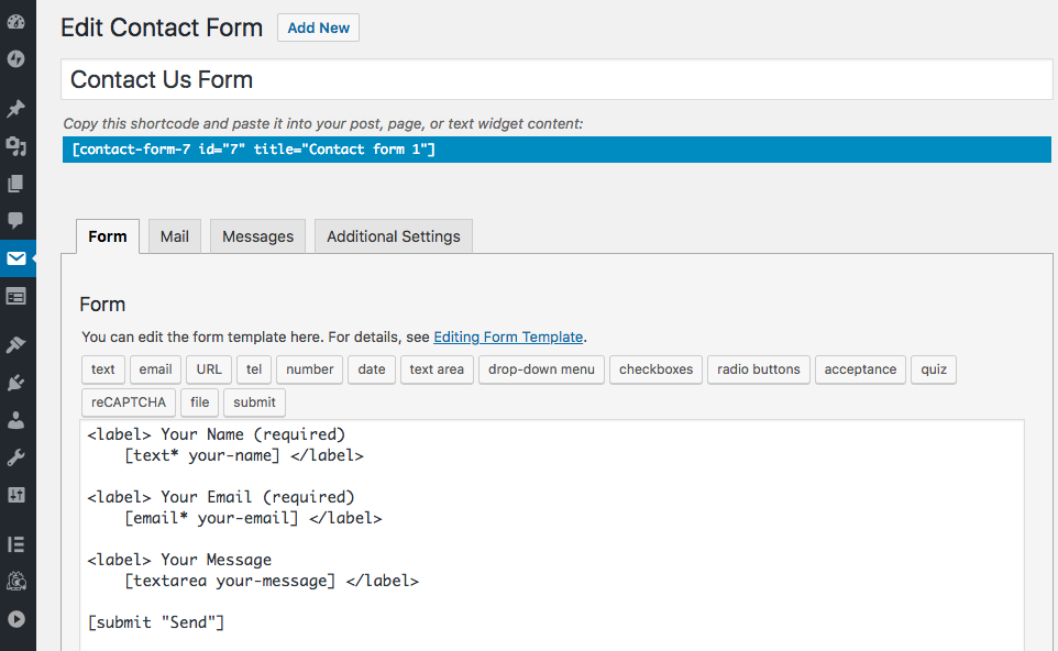 Build forms with Contact Form 7 (CF7) tags