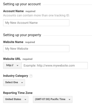 Account and property setup for a new Google Analytics account